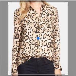 Vince Camuto Animal Print Gold Tone Buttoned Top
